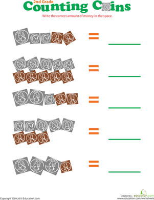 Second Grade Math Worksheets: Counting Coins III