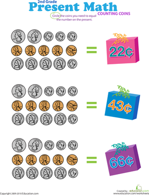 Second Grade Math Worksheets: Counting Coins: Present Math VI