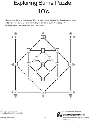 First Grade Math Worksheets: Addition Puzzle: 10s