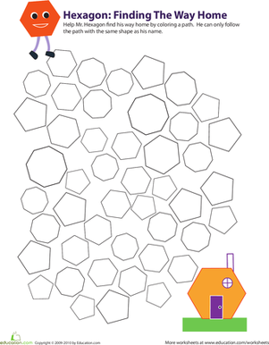 Third Grade Math Worksheets: Identifying Hexagons