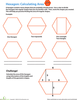 Fourth Grade Math Worksheets: Calculating the Area of a Hexagon