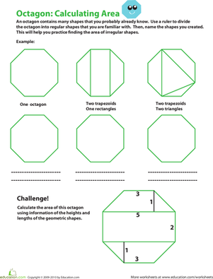 Octagon 2-D Shape Worksheet - Trace and Color by Worksheet Teacher