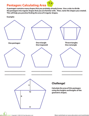 Fourth Grade Math Worksheets: Calculating the Area of a Pentagon