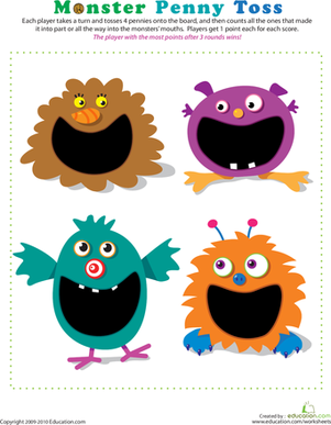 Kindergarten Offline Games Worksheets: Penny Toss Monsters