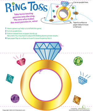 Kindergarten Offline Games Worksheets: Make a Ring Toss Game