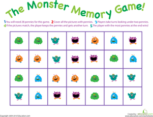 First Grade Offline Games Worksheets: Monster Memory Game
