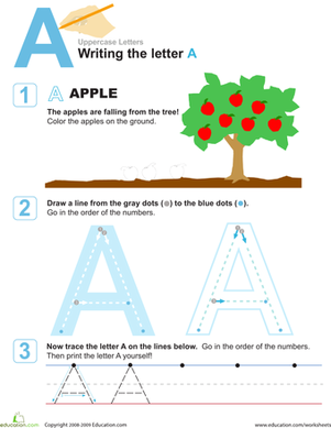 Preschool Reading & Writing Worksheets: A is for Apple! Practice Writing the Letter A