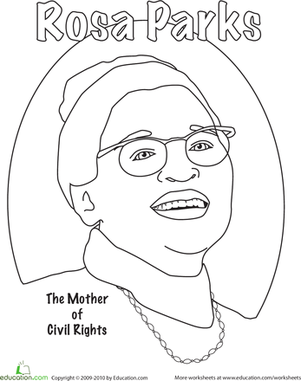 First Grade Holidays & Seasons Worksheets: Rosa Parks Coloring
