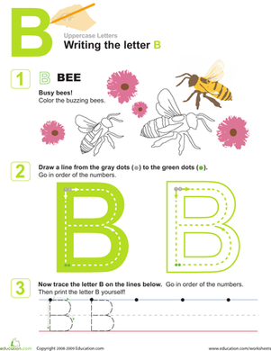 Preschool Reading & Writing Worksheets: B is for Bees! Practice Writing the Letter B