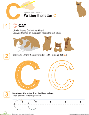 Preschool Reading & Writing Worksheets: C is for Cat! Practice Writing the Letter C