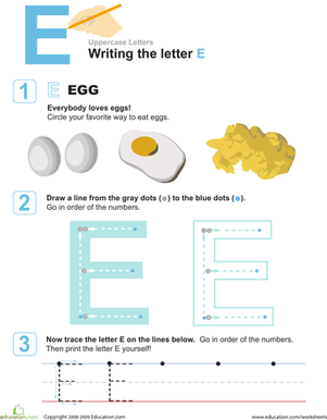 Preschool Reading & Writing Worksheets: E is for Eggs! Practice Writing the Letter E