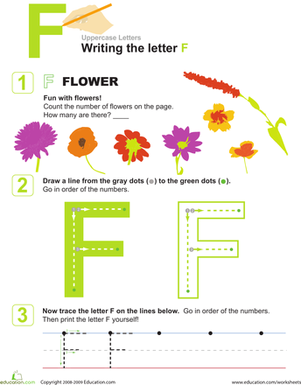 Preschool Reading & Writing Worksheets: Uppercase Alphabet: F