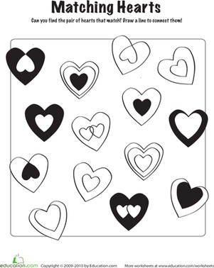 First Grade Offline games Worksheets: Heart Matching Game