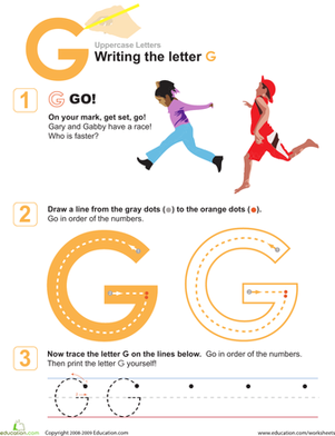 Preschool Reading & Writing Worksheets: G is for Go! Practice Writing the Letter G