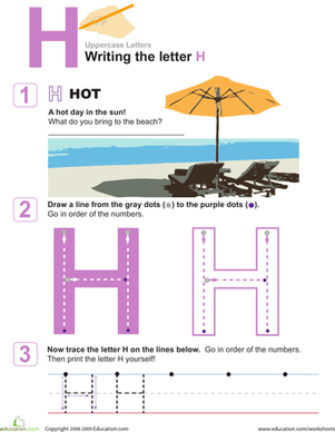 Preschool Reading & Writing Worksheets: H is for Hot! Practice Writing the Letter H