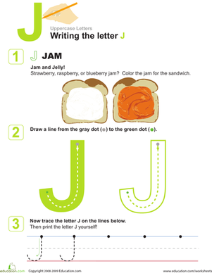 J is for Jam! Practice Writing the Letter J