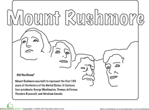 patriotic coloring pages mount rushmore - photo#13