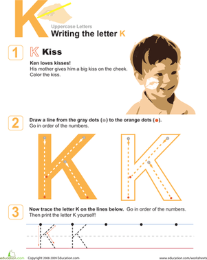 Preschool Reading & Writing Worksheets: K is for Kiss! Practice Writing the Letter K