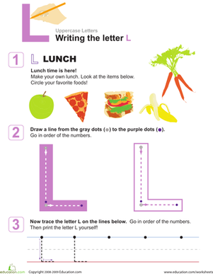 Preschool Reading & Writing Worksheets: Practice Writing Letters: The Letter L