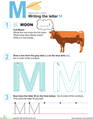 Preschool Reading & Writing Worksheets: Writing the Letter M: M is for Moo!