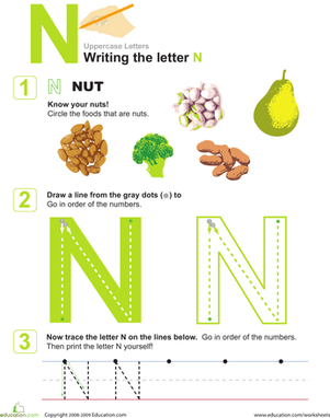 Preschool Reading & Writing Worksheets: N is for Nuts! Practice Writing the Letter N
