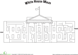 Third Grade Offline games Worksheets: Complete a White House Maze!