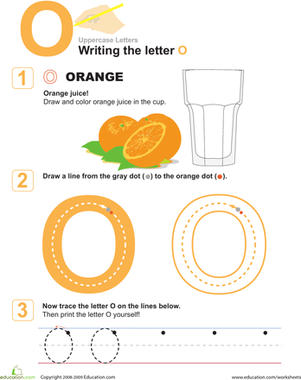 Preschool Reading & Writing Worksheets: The Letter O