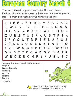 Fourth Grade Reading & Writing Worksheets: European Country Search IV