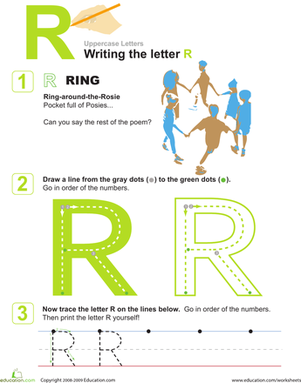 Preschool Reading & Writing Worksheets: R is for Ring! Practice Writing the Letter R