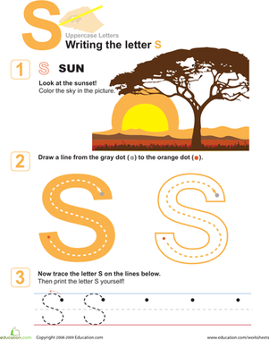 Preschool Reading & Writing Worksheets: S is for Sun! Practice Writing the Letter S