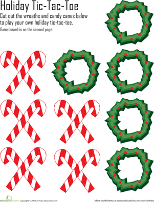First Grade Holidays & Seasons Worksheets: Christmas Tic-Tac-Toe