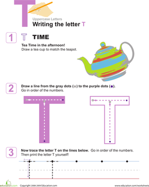Preschool Reading & Writing Worksheets: Capital T