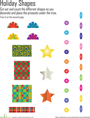 Kindergarten Holidays & Seasons Worksheets: Christmas Shapes Cut and Paste