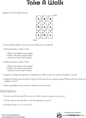 Integer Game | Worksheet | Education.com