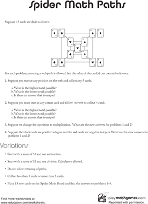 spider math paths  worksheet  educationcom this logic puzzle requires the use of addition subtraction and  multiplication your fourth grader will practice his problem solving skills  as he attempts