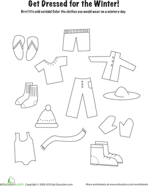 Winter Clothes Worksheet Educationcom