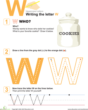 Preschool Reading & Writing Worksheets: Uppercase Letters: W