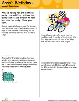 Fourth Grade Holidays & Seasons Worksheets: Mixed Word Problems