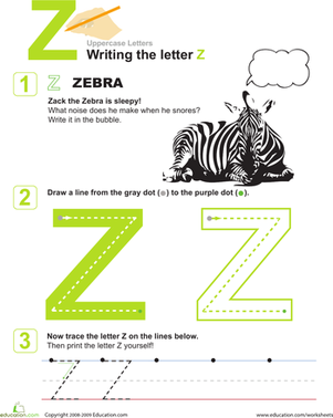 Preschool Reading & Writing Worksheets: Practice Writing the Letter Z