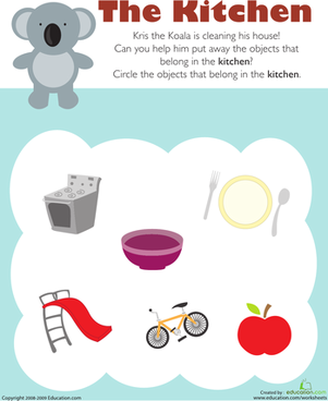 Preschool Math Worksheets: What Belongs in the Kitchen?