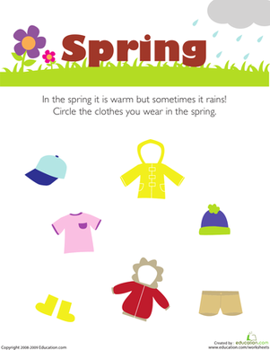 Preschool Science Worksheets: What Do You Wear in the Spring?
