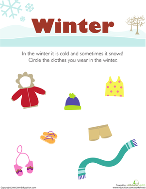 Preschool Science Worksheets: What Do You Wear in the Winter?