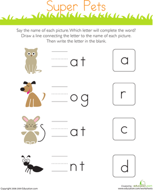 Kindergarten Reading & Writing Worksheets: Write the Missing Letter: Super Pets