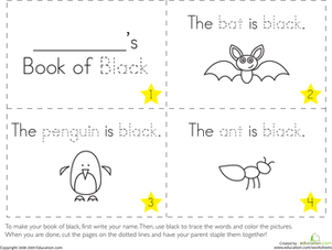 Preschool Reading & Writing Worksheets: The Color Black
