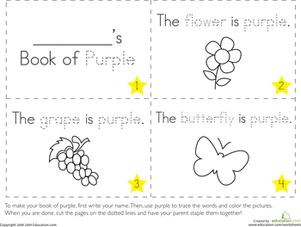 Preschool Reading & Writing Worksheets: The Color Purple