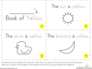 Preschool Reading & Writing Worksheets: The Color Yellow