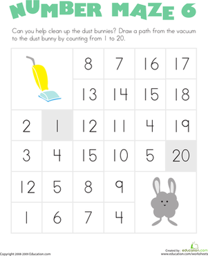 Kindergarten Math Worksheets: Number Maze: Clean Up the Dust Bunnies!
