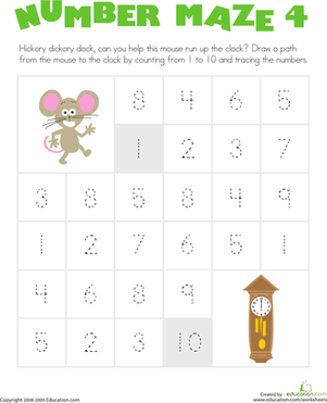 Kindergarten Math Worksheets: Number Maze: Help the Mouse!