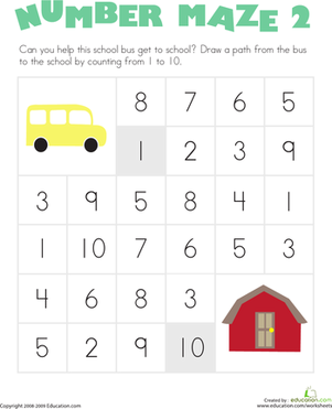 Number Maze: School Bus