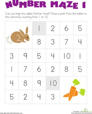 Kindergarten Math Worksheets: Number Maze: Help the Hungry Bunny!